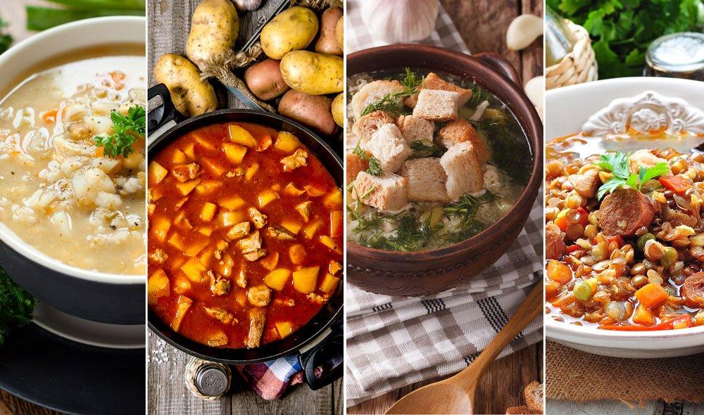 Kroupová polévka s houbami, falešná gulášová, česneková s vejcem a čočková s chorizem