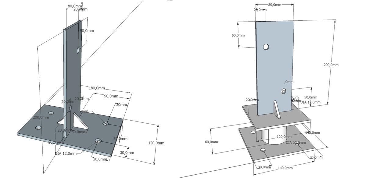 rozměry kovových patek na zahradní domek se sklepem