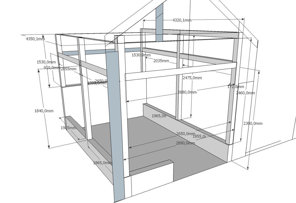 schéma s rozměry zahradního domku