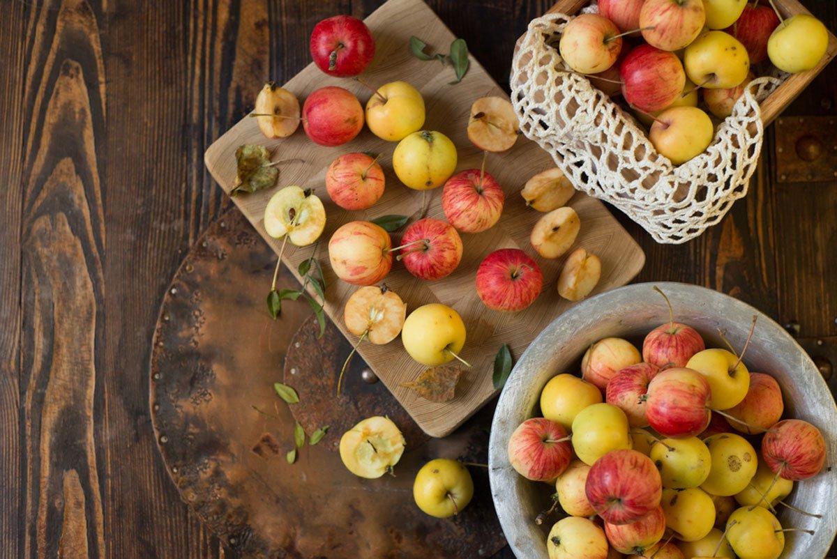 skladování ovoce, únor v zahradě