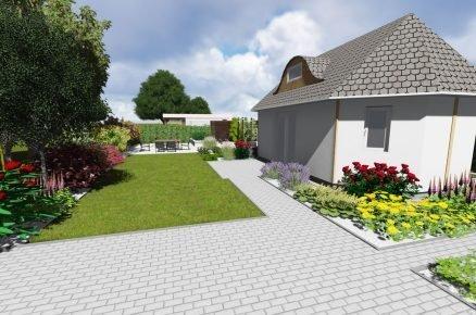 vizualizace vstupu na pozemek s rodinným domem a zahradou