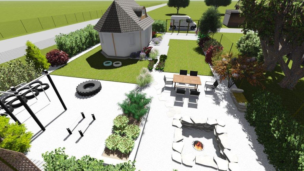 vizualizace zahrady s workoutovým hřištěm a částí pro sezení