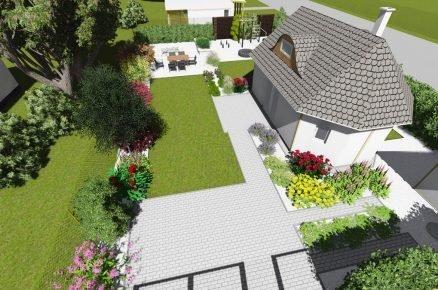 vizualizace zahrady s trvalkovými záhony a živým plotem