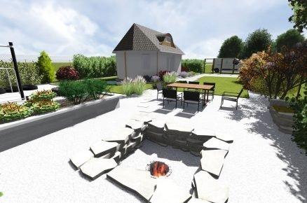 vizualizace zahradního sezení se zapuštěným ohništěm
