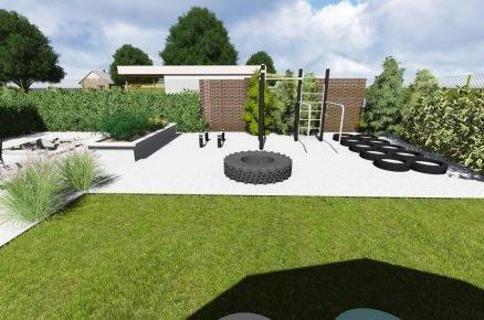 vizualizace zahrady s workout hřištěm a s traktorovou pneumatikou