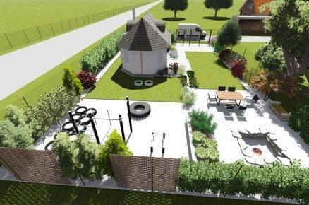 Zahrada s vyvýšenými záhony a workoutovým hřištěm