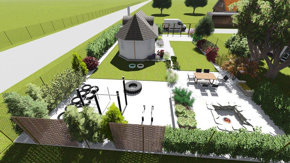 vizualizace zahrady s workout hřištěm a oddychovou zonou