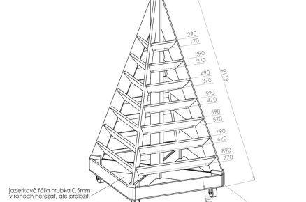 technický nákres pyramidového záhonu se základními rozměry