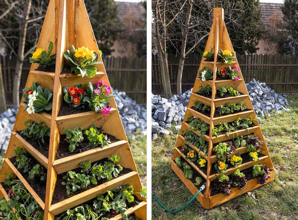 pyramidový záhon s květinami