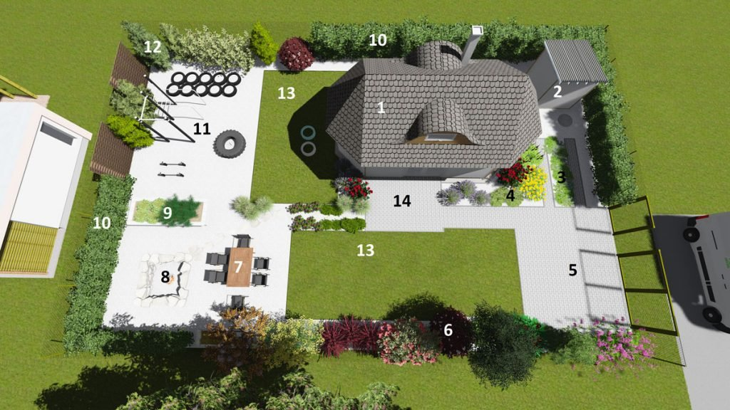 půdorys zahrady s domem, parkovištěm, zahradní chatkou, oddychovou zonou, hřištěm a zelenými plochami