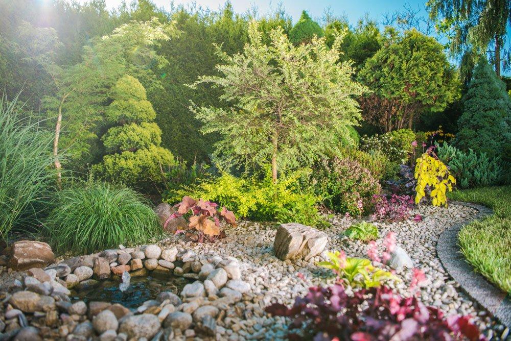 zahrada se štěrkovým záhonem