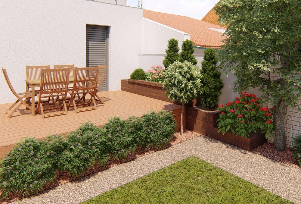 vyvýšený záhon vedle terasy na zahradě