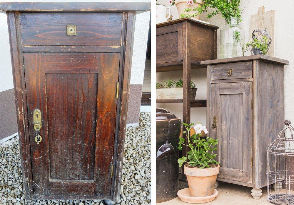 proměna staré skříňky, před a po