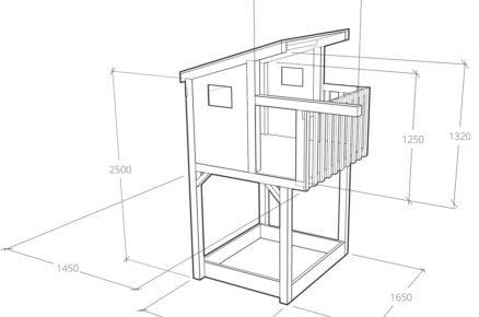 technický nákres domku pro děti s rozměry