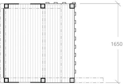 technický nákres domku pro děti s rozměry, nárys