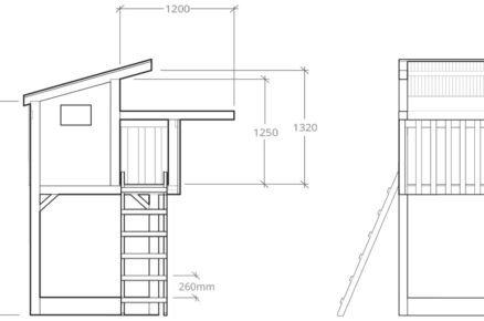 technický nákres domku pro děti s rozměry, předsíň