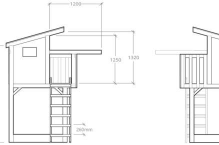 technický nákres domku pro děti s rozměry bokorys