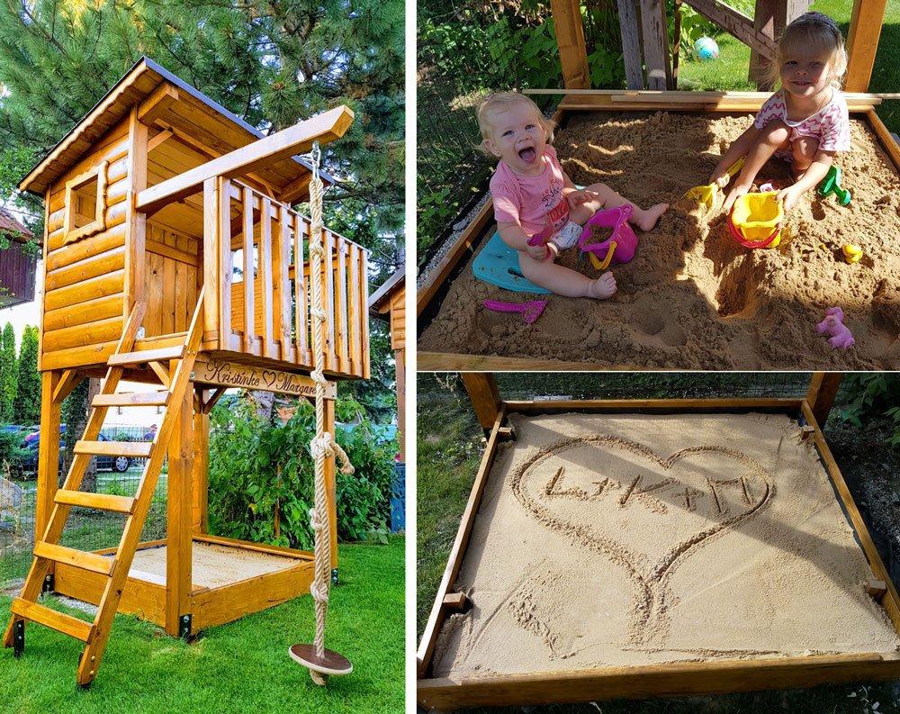 dětský domek s pískovištěm