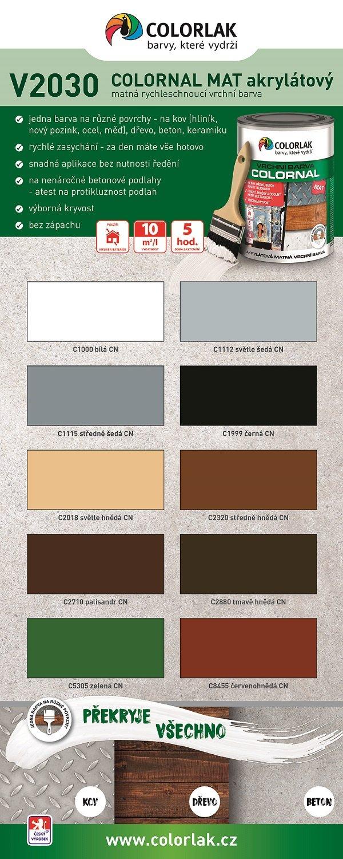 COLORNAL MAT je nabízen v základní škále 10 odstínů