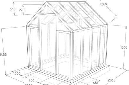 technický nákres skeletu skleníku, rozměry