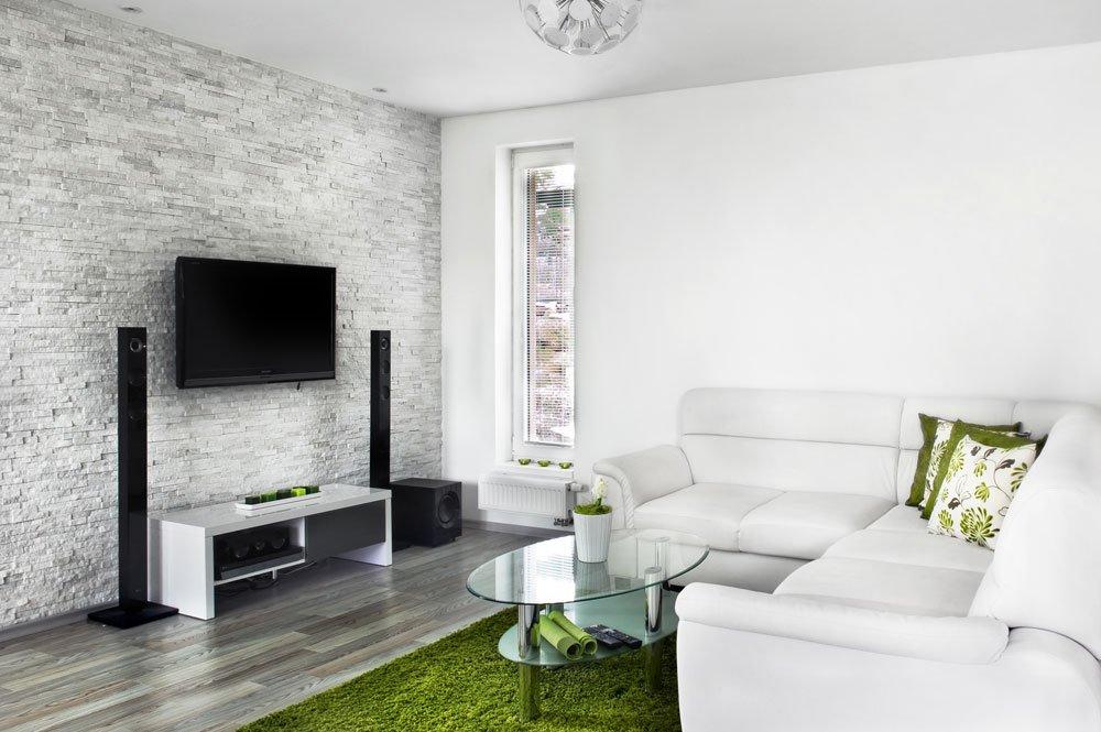 moderní obývací pokoj s novou omítkou