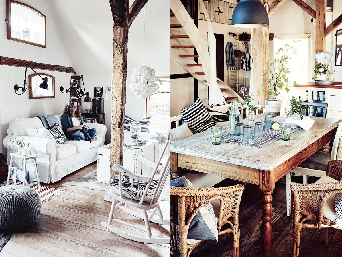 zrekonstruovaná zemědělská usedlost v rustikálním stylu, obývací pokoj v bílé barvě a jídelna s dřevěným nábytkem