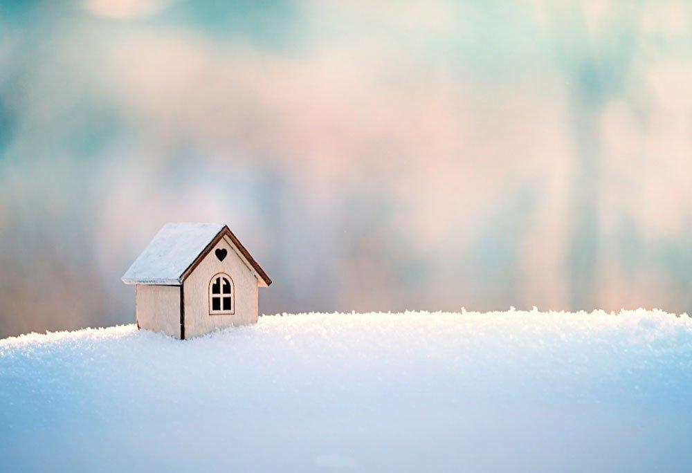 stavba během zimy