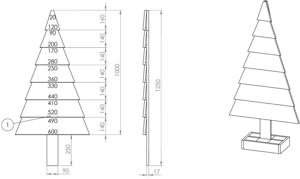 vánoční strom z palety technický obrázek