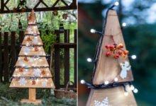vánoční stromek z palety na zahradě