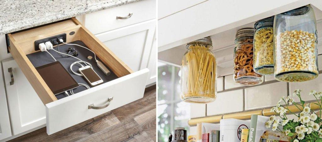 zlepšováky do domácnosti: nabíječky vytvořené v kuchyňské zásuvce a dózy na potraviny přišroubované k spodné části skřiněk
