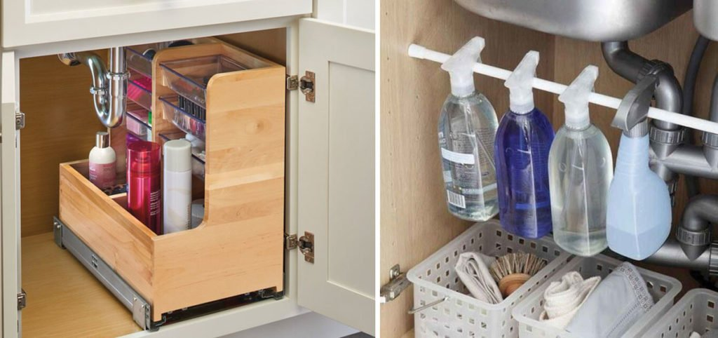 zlepšováky do domácnosti: závěsná tyč na čistíci prostředky a překližkový organizér pod dřez