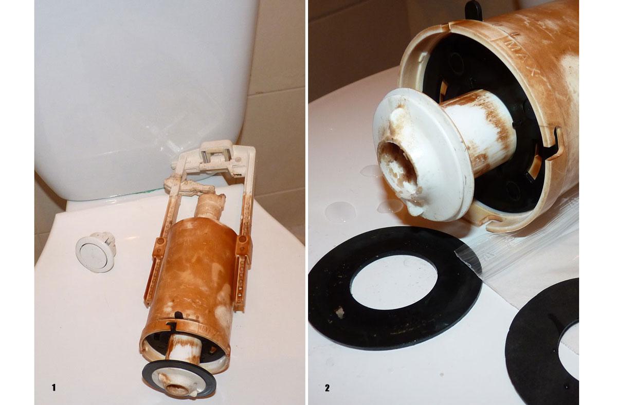 Únik vody z WC: oprava splachovacího ventilu