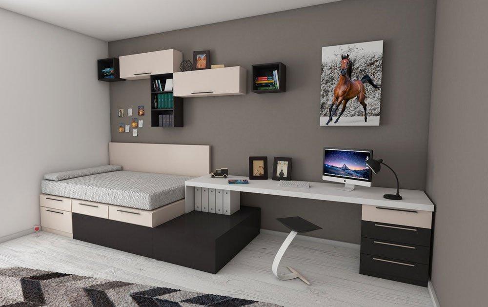 interiér s pracovním stolem a postelí s úložným prostorem