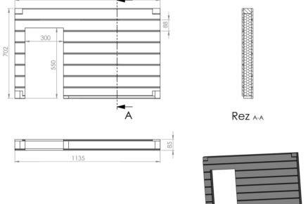 Schéma rozměrů boudy pro psa: přední stěna