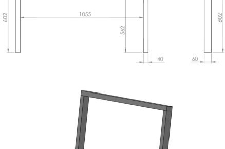 Schéma rozměrů boudy pro psa: zadní stěna
