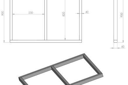 Schéma rozměrů boudy pro psa: střecha