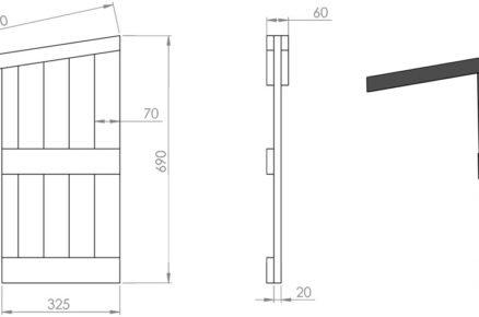 Schéma rozměrů boudy pro psa: příčka