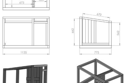 Schéma rozměrů boudy pro psa: konstrukce boudy