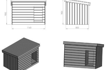 Schéma rozměrů boudy pro psa: kompletní bouda