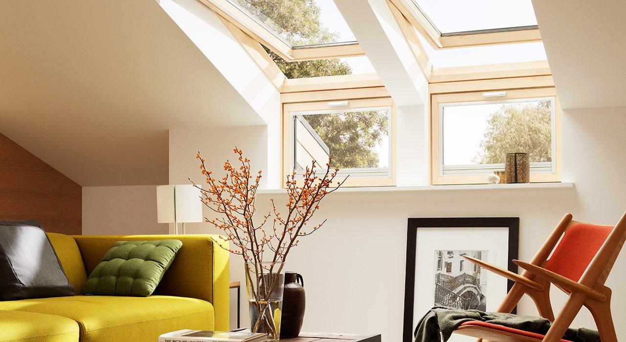 Obývačka v podkroví (Zdroj: Velux)