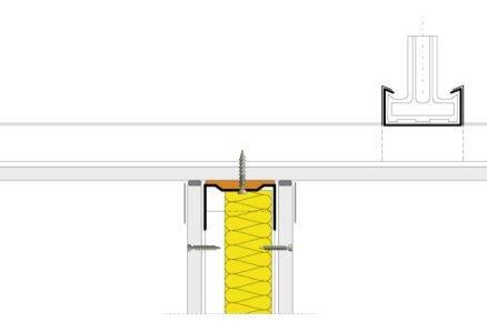 Schéma napojení sádrokartonové příčky k podhledu.