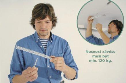 Montáž akustického podhledu: připevnění přímého závěsu k nosnému stropu.