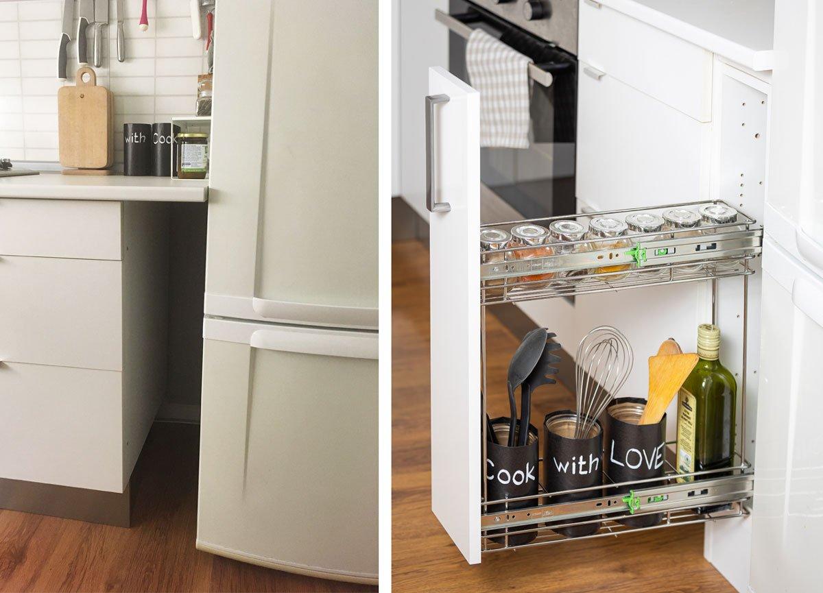 Výsuvný regál mezi kuchyňskou linkou a chladničkou. Před a po montáži.