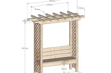 Schéma rozměrů pergoly s lavičkou