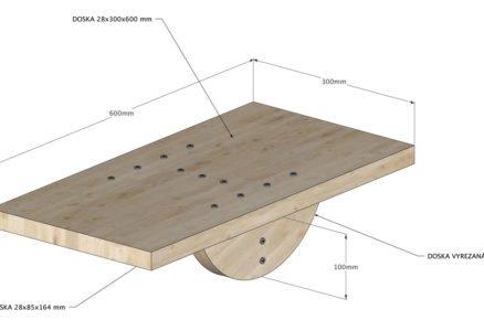 Schéma rozměrů balanční desky