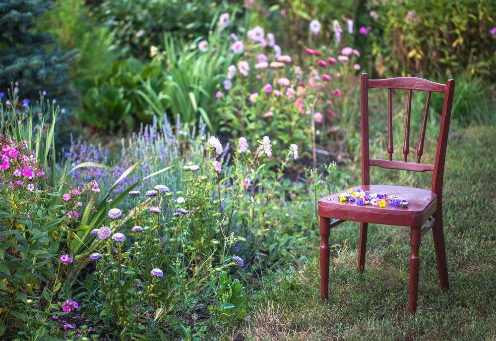 Jak vytvořit romantickou květinovou zahradu: dřevěná židle vedle květinových záhonů