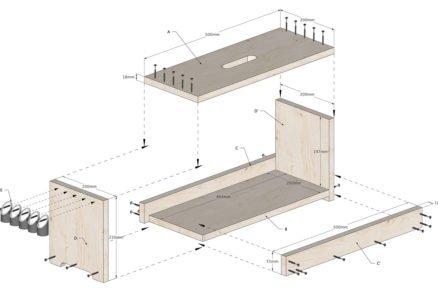 Schéma rozměrů pracovního stolku