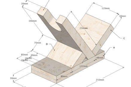 schéma s rozměry pro zhotovení stojanu pro AKU šroubováku
