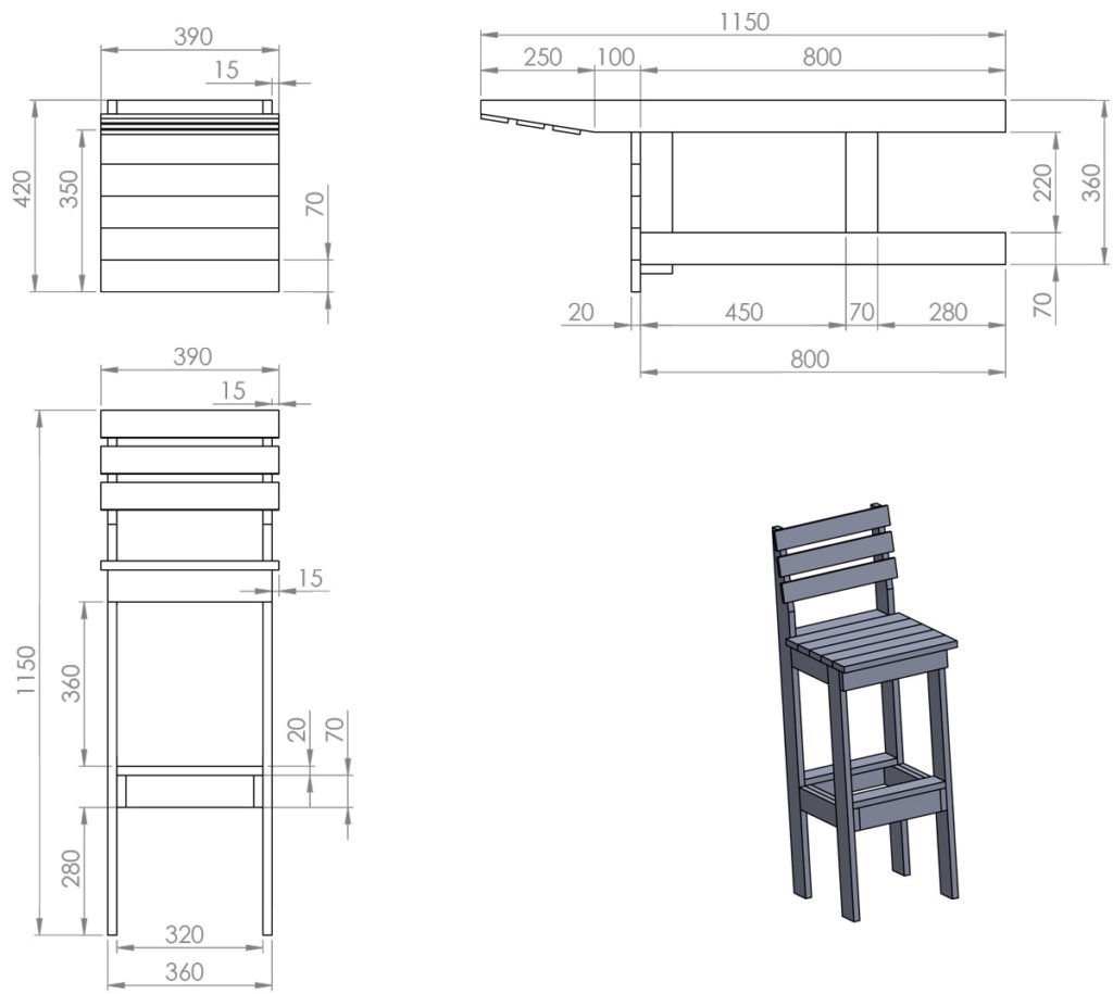 Schéma rozměrů dřevěné barové židle