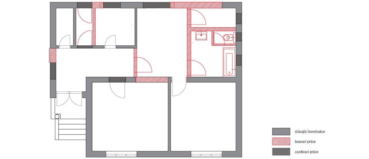 půdorys rekonstruovaného domu ve tvaru čtverce